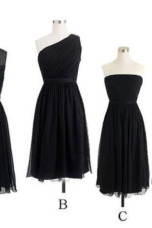 Custom Made Black A Line Chiffon Mismatched Bridesmaid Dress