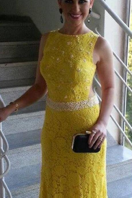 Prom Dress Formal Dress Grand Yellow 0-NECK Floor Length Lace Trumpet Mermaid Prom Dress