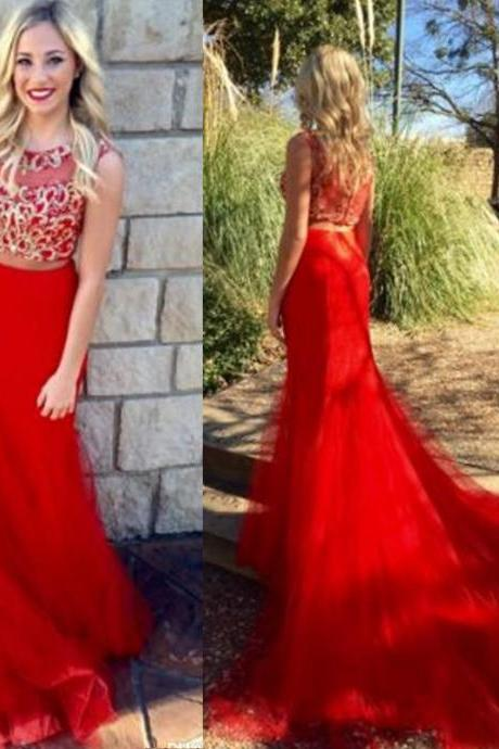 Red Party Gowns,Two Pieces Long Prom Dresses,Prom Dresses Sweep Train,Mermaid Long Party Gowns,Handmade Beads Sequined Party Gowns,Prom Dresses Sleeveless