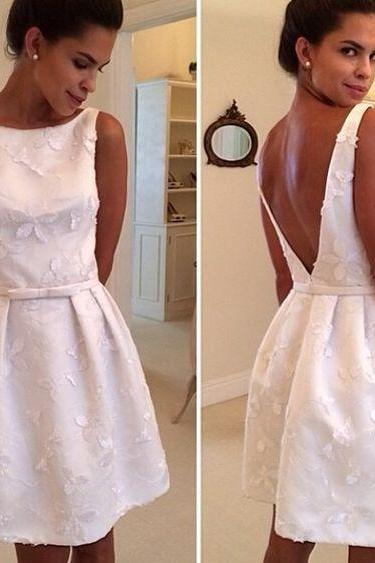 Short Homecoming Dress,Lace Homecoming Dress,White Homecoming Dress,Cute Homecoming Dress, Fashion Homecoming Dress,V-back prom dress,Homecoming Dress