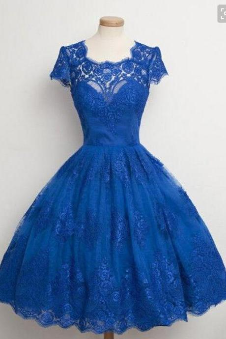 Lace Homecoming Dress,Cap Sleeves Homecoming Dress,Junior Blue Homecoming Dress, Cheap Homecoming Dress,Homecoming Dress,Cocktail Dresses,Graduation Dress