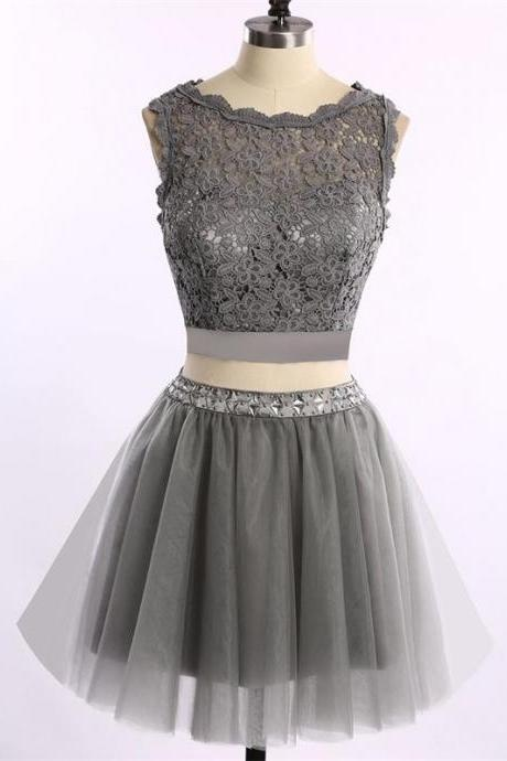 short gray Homecoming dress ,Cute Homecoming dress ,Two Piece Homecoming dress ,Cocktail Dresses, New Arrival Lace Homecoming dress ,cheap Mini Homecoming Gowns
