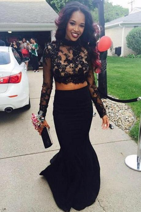 Prom Dresses,Black Prom Gown,2 Pieces Prom Gowns,Elegant Evening Dress,Evening Gowns,2 Piece Evening Gowns,Mermaid Lace Prom Dress
