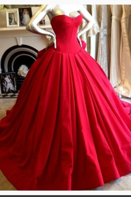 Evening Dress,Red Evening Dresses,Classic Prom Dress, Ball Gown,Floor Length Evening Dress,Princess Evening Dress,Beautiful Evening Dress,Satin Evening Dress,Prom Dress
