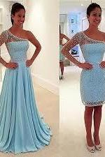 One Shoulder Prom Dresses,Beaded Evening Dress,Chiffon Prom Dress,Light Blue Prom Dresses,2016 Prom Gown,Elegant Prom Dress,Fashion Evening Gowns