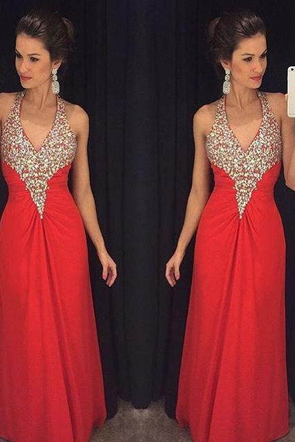 Sexy Prom Dresses,Red Prom Dress,Chiffon Evening Gown,Long Formal Dress,Beaded Prom Gowns,Evening Dresses