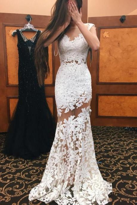 White Prom Dresses,Mermaid Prom Dress,White Prom Gown,Prom Gowns,Elegant Evening Dress,Modest Evening Gowns,Sexy Party Gowns,Prom Dress