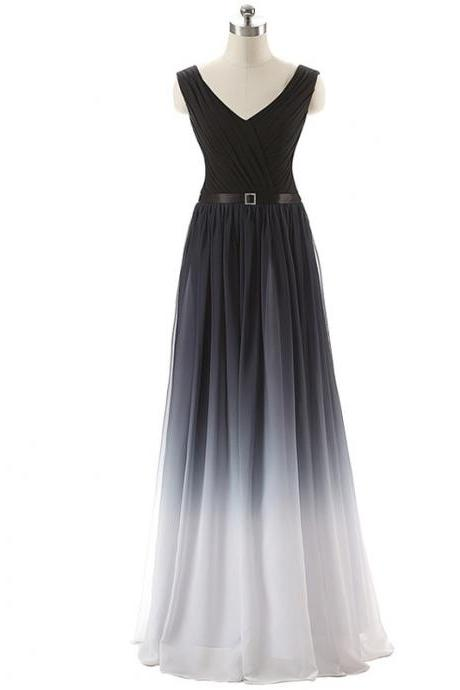 Gradient Prom Dress,Ombre Evening Dress,Prom Dresses,Black Prom Gowns,Chiffon Formal Gowns,Teens Bridesmaid Gown For Teens