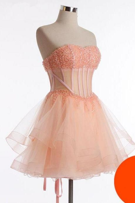 Blush Pink Homecoming Dress,Cute Homecoming Dress,Beading Homecoming Dress,Tulle Homecoming Dress, Cute Short Prom Dress,Fitted Homecoming Gowns