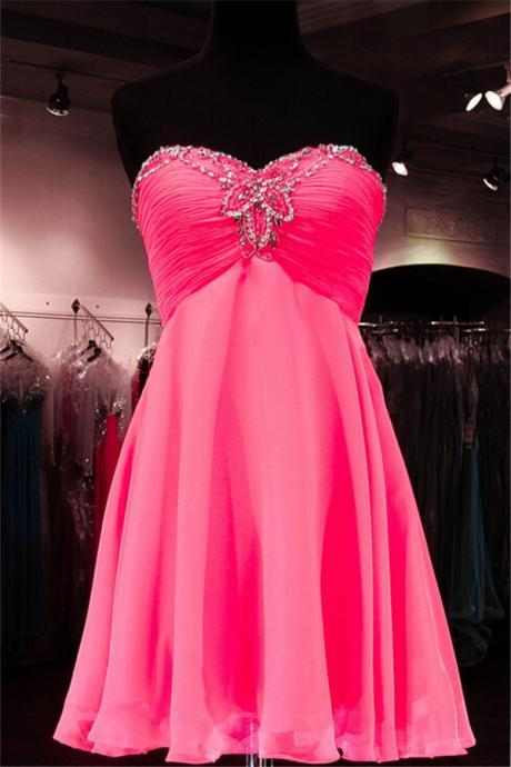 Pink Homecoming Dress,Light Pink Homecoming Dresses,Chiffon Homecoming Gowns,Bling Party Dress,Short Prom Dress,Silver Beading Sweet 16 Dress,Sparkly Homecoming Dresses,Glitter Formal Evening Gown