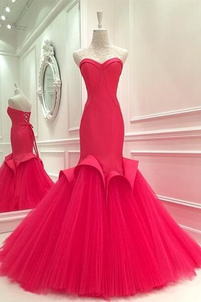 Red Prom Dresses,Evening Dress,Beaded Prom Dresses,Red Prom Dresses,Simple Prom Gown,Prom Dress,Mermaid Formal Gowns for Teens