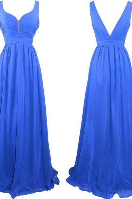 Backless Prom Gown, Prom Dresses,Royal Blue Evening Gowns,Simple Party Dresses,2016 Evening Gowns,Backless Formal Dress For Teens