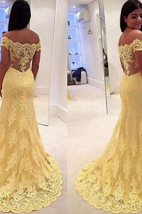 Prom Gown,Yellow Prom Dresses With Lace,Off The Shoulder Evening Gowns,Mermaid Formal Dresses,Yellow Prom Dresses
