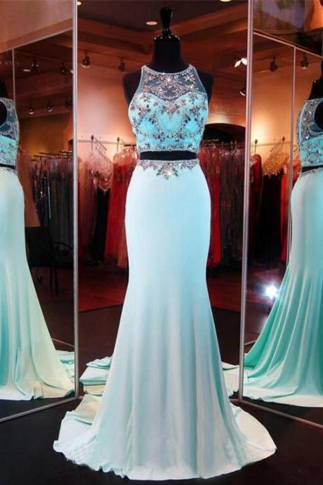 2 Piece Prom Gown,Two Piece Prom Dresses,Evening Gowns,2 Pieces Party Dresses,Chiffon Evening Gowns,Sparkle Formal Dress,Bling Formal Gowns For Teens