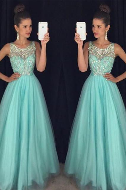 Mint Green Prom Dresses,Elegant Evening Dresses,Long Formal Gowns,Beaded Party Dresses,Chiffon Pageant Formal Dress,Backless Prom Dress