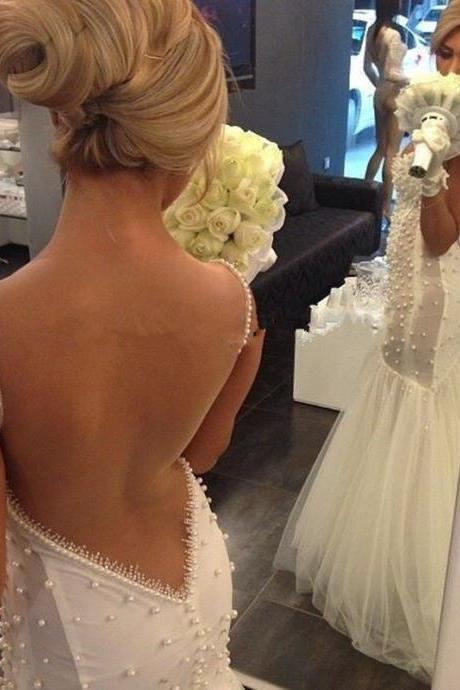 White Wedding Dresses,Mermaid Wedding Gown,Wedding Gowns,Backless Bridal Dress,Backless Wedding Dress,Mermaid Brides Dress,Open Backs Wedding Gowns,Open Back Wedding Dress With Spaghetti Straps