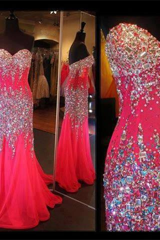 Mermaid Long Prom Dresses,Red Prom Gowns,Beading Prom Dresses, Party Dresses 2016,Sparkle Prom Gown,Sparkly Prom Dress,Sexy Evening Dresses