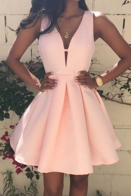 Satin Homecoming Dresses,Short Prom Gown,Pearl Pink Homecoming Gowns,Sweet 16 Dress,Elegant Homecoming Dresses,Short Evening Dress