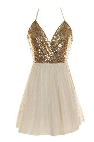 Halter V-Neck Sequined Short Homecoming Dress, Cocktail Dress, Party Dress Featuring Crisscross Back