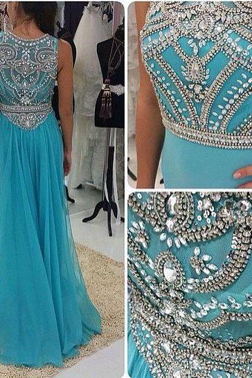 Charming Prom Dress,Chiffon Prom Dress,Beading Prom Dress,O-Neck Prom Dress,Beauty Evening Dress