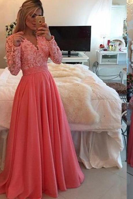 Coral Prom Dress,Ball Gown Prom Dress,White Lace Prom Gown,Backless Prom Dresses,Sexy Evening Gowns,New Fashion Evening Gown,Long Sleeves Party Dress For Teens