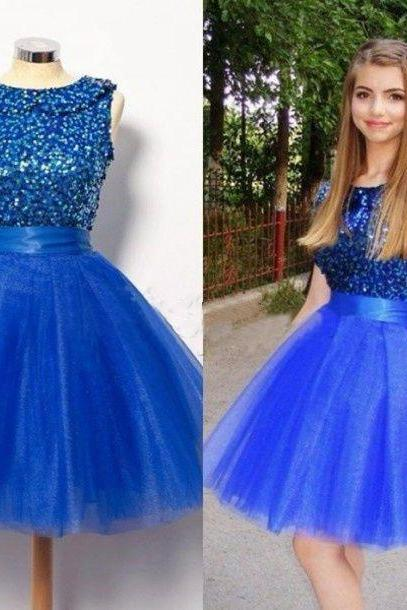 Royal Blue Homecoming Dress,Short Prom Dresses,Tulle Homecoming Gowns,Fitted Party Dress,Silver Beading Prom Dresses,Sparkly Cocktail Dress,backless Homecoming Gown,2016 Style Glitter Evening Gowns