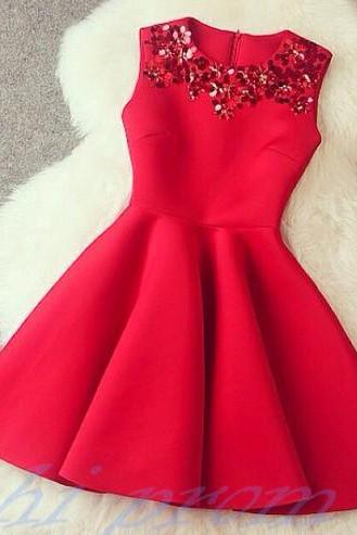 Red Homecoming Dress,Short Homecoming Dresses,Satin Homecoming Gowns,Sweet 16 Dress,Red Beading Homecoming Dresses,Casual Party Dress