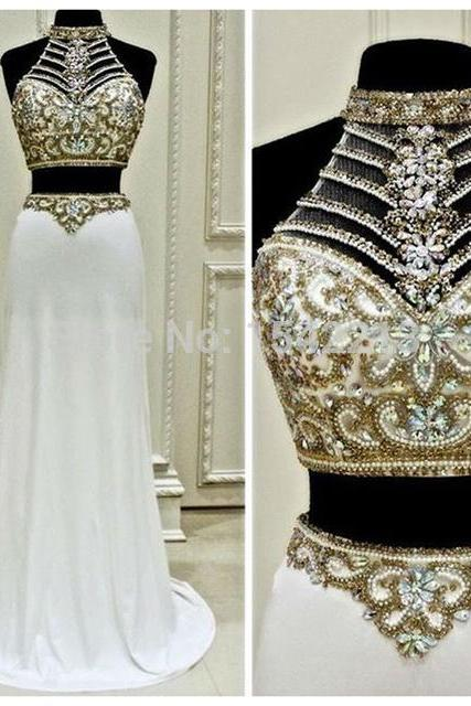 Two Pieces Prom Dress,High Neck Chiffon Prom Dresses,White Sexy Woman Pageant Gowns with Luxuriant Beaded and Crystals