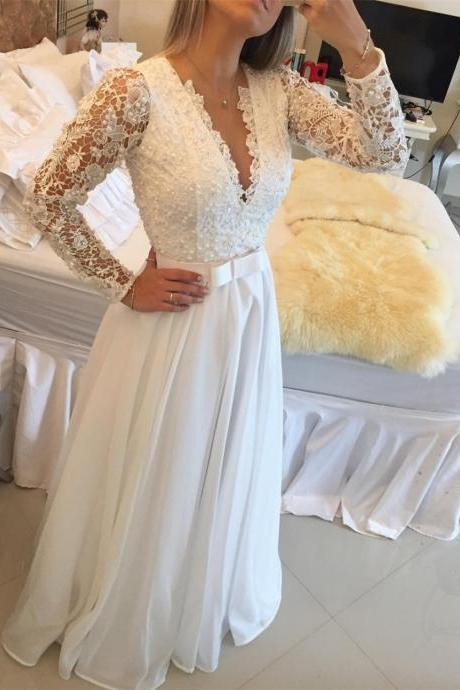Elegant Long Sleeve A Line Evening Dresses Lace Floor Length Sexy V Neck See Through Back White Custom Made Prom Dress