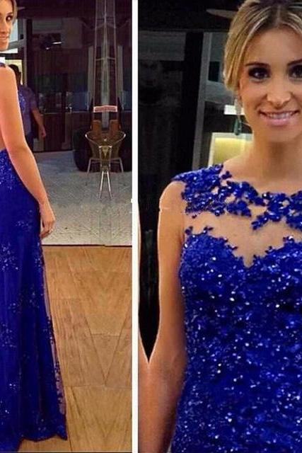 Sexy Royal Blue Lace Beading Applique Backless Tulle Long Evening Gowns,Custom Made Long Prom Dresses 2017