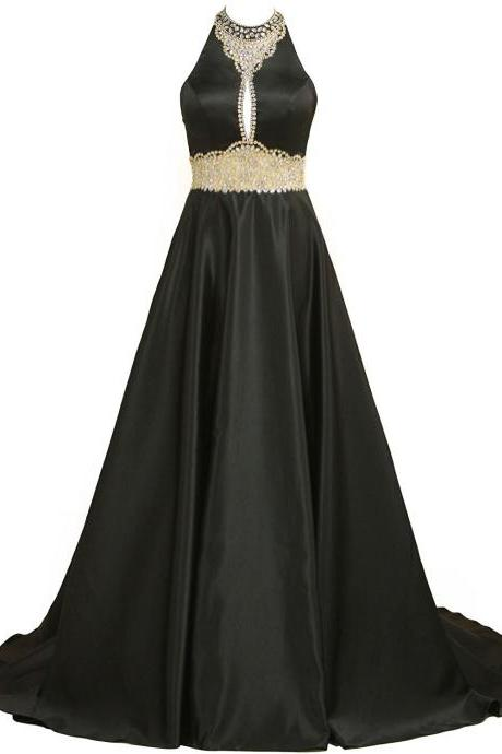 Women's High Neck Satin Prom Dresses with Beading and Rhinestones Long A-Line Evening Dress