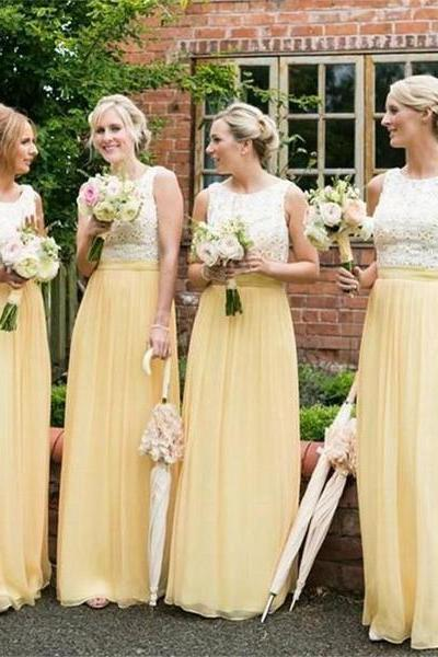 Custom Made Yellow Sleeveless Lace Long A-Line Bridesmaid Dress with Pleated Chiffon Skirt