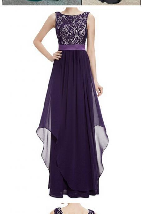 Women's Elegant Chiffon Prom Dress Sleeveless Lace Bridesmaid Dress Round Neck Evening Party Dress