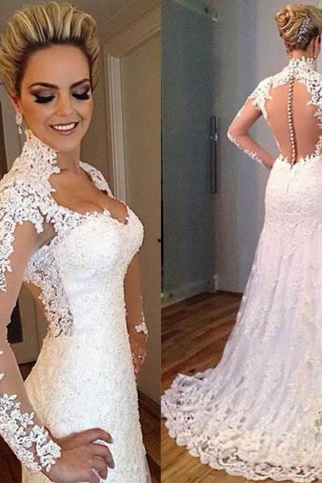 Wedding Dresses, Wedding Gown,lace wedding dress princess vintage mermaid bridal gowns