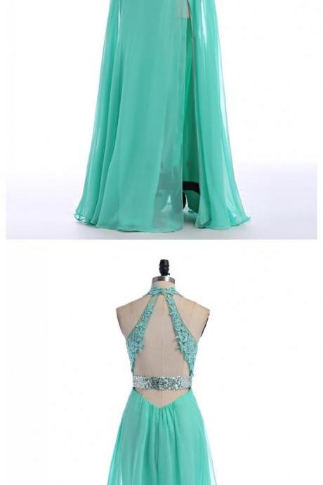 V-Neck Prom Dress,Halter Prom Dresses,Long Evening Dress