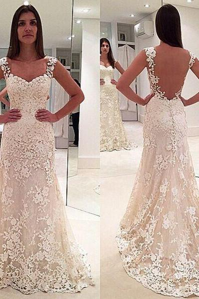Ivory lace wedding gowns,sleeveless mermaid formal evening gown,sheer back pron gown,long lace bridal dress,elegant bridal gowns
