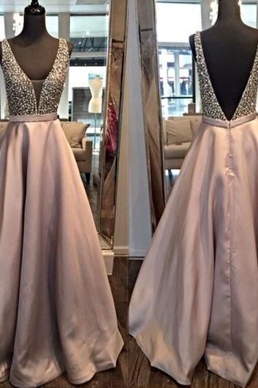 Custom Made Plunging V-Neckline Long Satin Bridesmaid Dress with Rhinestone and Crystal Beading