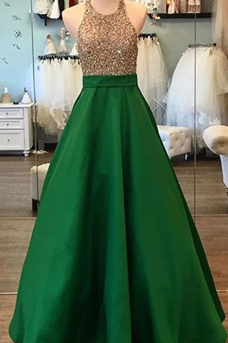 green prom dress,green evening dress,satin prom dress,ball gowns prom dress,prom dress