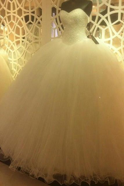 New Arrival Prom Dress,Modest Prom Dress,Sparkly Sequins Beaded Sweetheart White Organza Ball Gowns Wedding Dresses