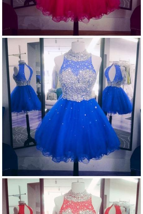 Homecoming Dresses,Elegant crystal beaded high neck open back short ruffles homecoming dresses 2017 mini ball gowns prom dress
