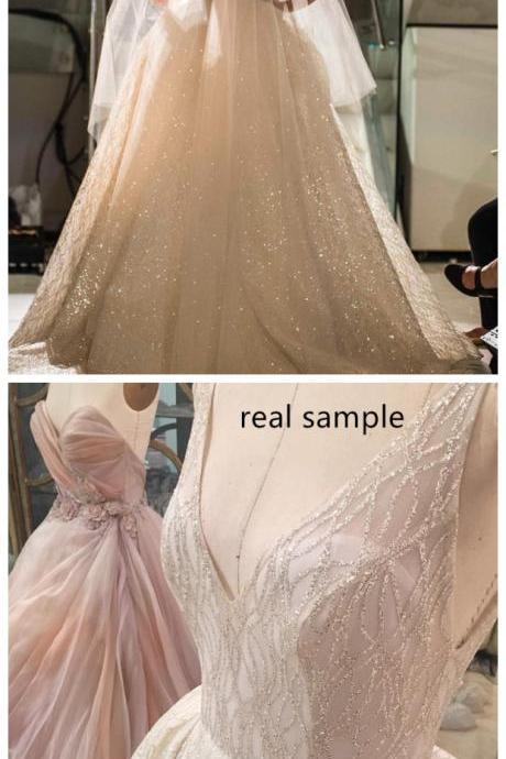 Wedding Dresses, Wedding Gown,deep v neck ,sequin, beaded ,bling bling ,wedding dresses, ball gowns, 2017 luxury bridal gowns