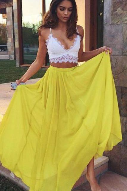 Elegant Prom Dress,Two Pieces Party Dress,A Line Prom Dress,Fashion Prom Dress,Sexy Party Dress, 2017 New Evening Dress