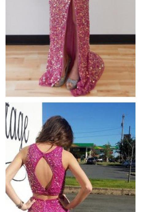 Two Pieces Prom Dress,Sequins Prom Dress,Split Prom Dress,Fashion Prom Dress,Sexy Party Dress, New Style Evening Dress