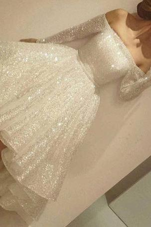 New Arrival Prom Dress,Sexy Prom Dress,Prom Dress,White sequins long sleeve short prom dress,homecoming dresses