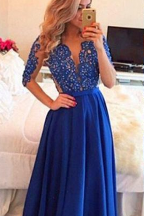 New Arrival Prom Dress,Long prom dresses,navy blue prom dresses,half sleeve see-through evening dress,formal dress