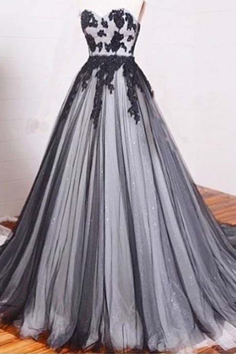 New Arrival Prom Dress,lace prom dresses,A-line black+white tulle lace chiffon long evening dress, formal dresses,grad dresses,woman dresses