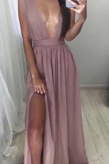 New Arrival Prom Dress,Sexy deep V-neck long prom dress,evening dress