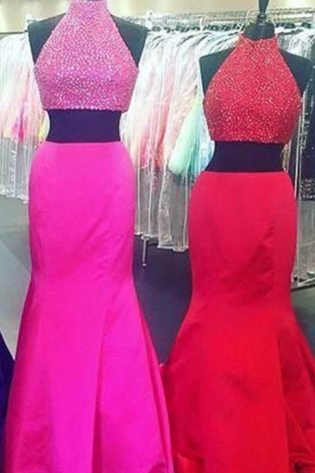 2 Piece Prom Gown,Two Piece Prom Dresses,Red Evening Gowns,2 Pieces Party Dresses,Evening Gowns,Sparkle Formal Dress,Bling Formal Gowns For Teens