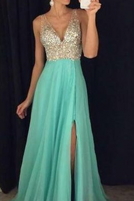 Blue Prom Dresses,Chiffon Prom Dress,Prom Gown,Beaded Prom Dresses,slit Evening Gowns,New Evening Dresses