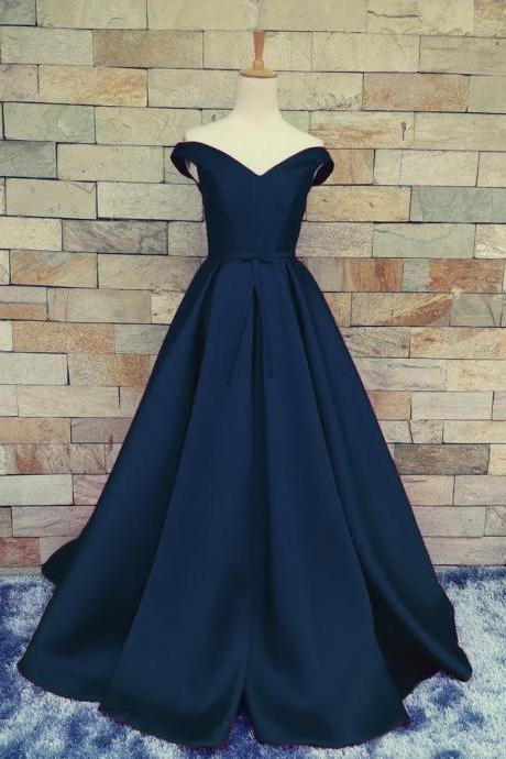 Charming Dark Navy Blue A Line Prom Dresses Satin Off The Shoulder Evening Gowns With Belt And Pleat